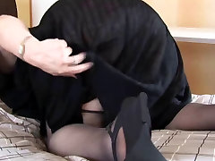 Busty office work sex girl BBW with big hairy pussy