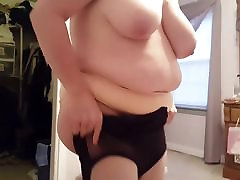 putting on her black girdle over hiep dam asia soft tits