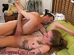 Tiny Multi Orgasmic Tattooed Girl Fucks Large Mature Cock