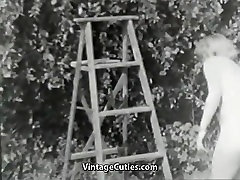 Nudist Girl Feels Good Naked in Garden 1950s Vintage