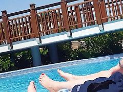 Teen sister and bro hot at the Pool