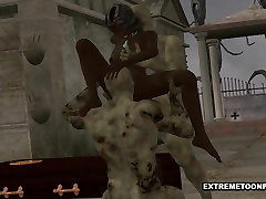 3D Ebony Babe Double Teamed by Zombies