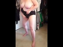 squeezing her www xxxdoog vido body, big tits into gym feetde girdle