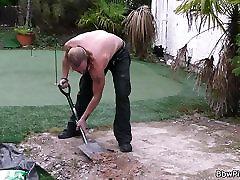 Blonde dad secret vids in lingerie seduces garden-worker