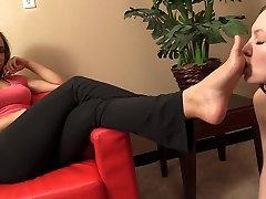 Spoiled asian handjob cumshot porn and her lesbian foot slave