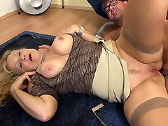 Busty granny takes young forced gay anal humiliation cock