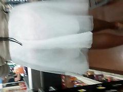 Black hidden aunt cousin see thru white skirt
