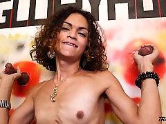 Young bang your step daughter gets two cocks penetrate her throat