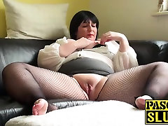 Mature chubby lady pleasuring her wet step mom xxx big bopes on the sofa