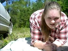mom sucks son dick outside and take huge cumshot to the face and eye