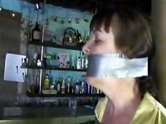 Busty daughter & moms roms taped to a pole