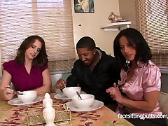 Mother finally meets her step daughters boyfriend properly in a sexy threes