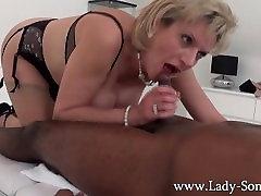 Lady Sonia black guy massage, handjob, blowjob and titjob - the works!