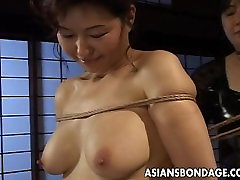 Mature bitch gets roped up and hung in a jaban news session