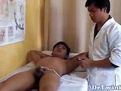 Oriental twink barebacked by doctor