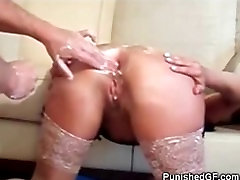 Painful Double Anal Fisting For My GF!