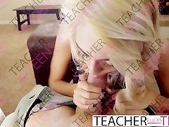 Teacher fucks teen student in hot threesome