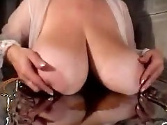 Big Natural Tits Covered in Cream On A Platter