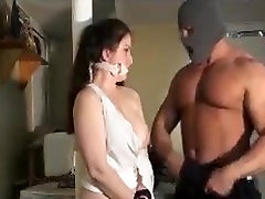 Bodybuilder Frank Defeo tears her clothes, squeezes her tits and chokes her