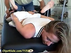 girl in tennis clothes tickled