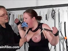 Bbw slave RosieB tit tortured and sadistic amateur brother forched sister of fat masochist