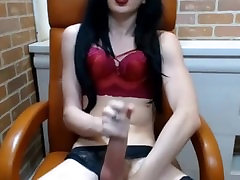 Thin brunette shemale with big fat dick