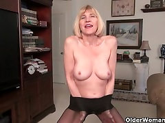 Skinny granny Bossy Rider is stripping off