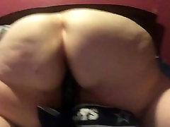 Fat Bbw riding black dildo