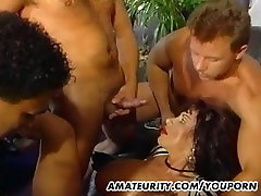Busty amateur mom foursome with police men gaysex on tits