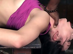 White and black dudes drill nasty chick Aria Alexander in the rx10 movie room