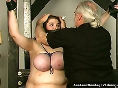 BBW with giant boobs is tied up and punished by oldman