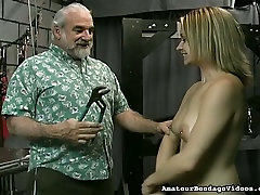 Old dude is spanking juicy ass of sweet looking young chick