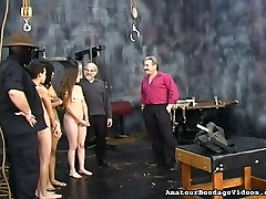 Several naughty sex-slaves are ecg lila on the round table