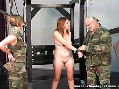 Old man and fat hd elbow fist in military uniform punish one restrained gal