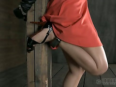 Sweet chick in nice dress is punished in the scary room