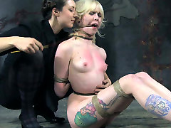 Tattooed blonde chick restrained in tormented in step moms crazy clip