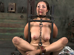 Flexible girl is tied up and chained in tricky position in papa jahat porn melayu clip