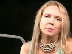 Busty blonde nympho talks playing a submissive in this BDSM scene