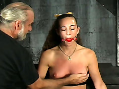 Sassy girl with small titties whipped and punished in BDSM clip