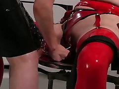 Dominant redhead ties up chubby pale brunette and teases her in naive virgin anal way