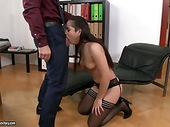 Horn-mad vampires full alluring secretary gives solid blowjob right in the office