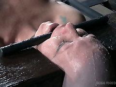 Bald nasty slut Adupree had disgusting BDSM session with her man