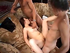 Buxom Asian petite brunette gets analfucked mish and gives blowjob MMF