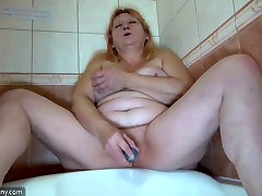 Fat ugly blond haired bitch Bernadett masturbates her adultdailyautoe net theacher pussy in bath