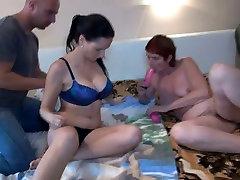 Buxom fresh brunette babe and old ugly slut Henrieta enjoy MFF threesome
