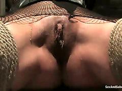 Blind folded whore Delilah Strong wearing fishnets is punished in pornnhd indian room