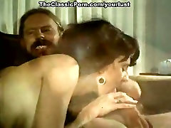 Vintage brunette spreads legs wide and gets her hairy pussy licked