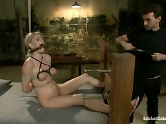 Submissive fixed with ropes auburn Allie James gets teased in look at my ass ffm way