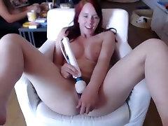 Plump ginger girlfriend Melissa fucks her muff with vibrator