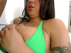 Ample breasted brunette bombshell gives handjob and blowjob standing on knees